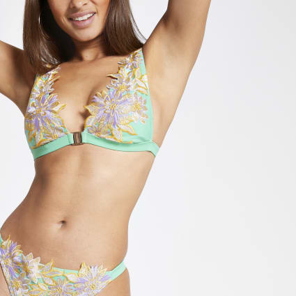 Green floral embroidered high apex bikini top