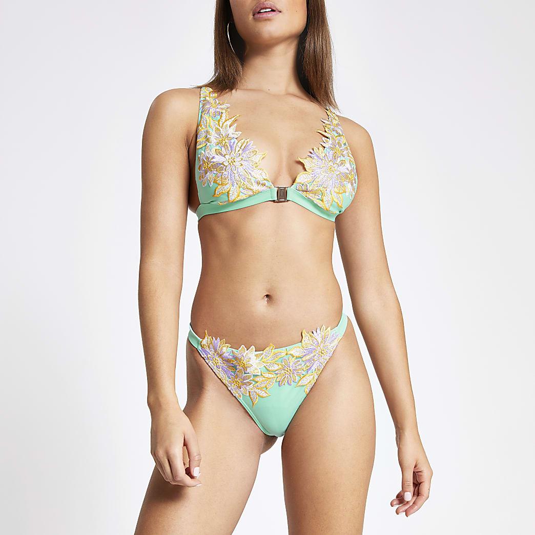 Green floral embroidered bikini bottoms