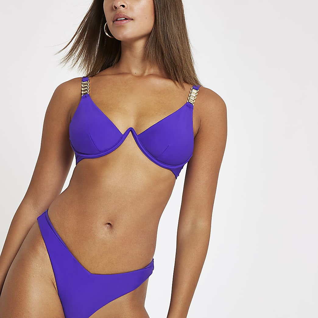 Purple chain trim mono wire bikini top