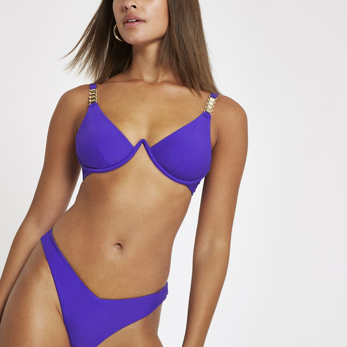 Purple chain trim mono wire bikini top