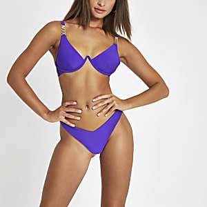 Purple v front high leg bikini bottoms