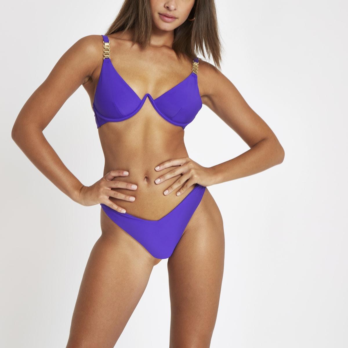 Purple v front high leg bikini bottoms