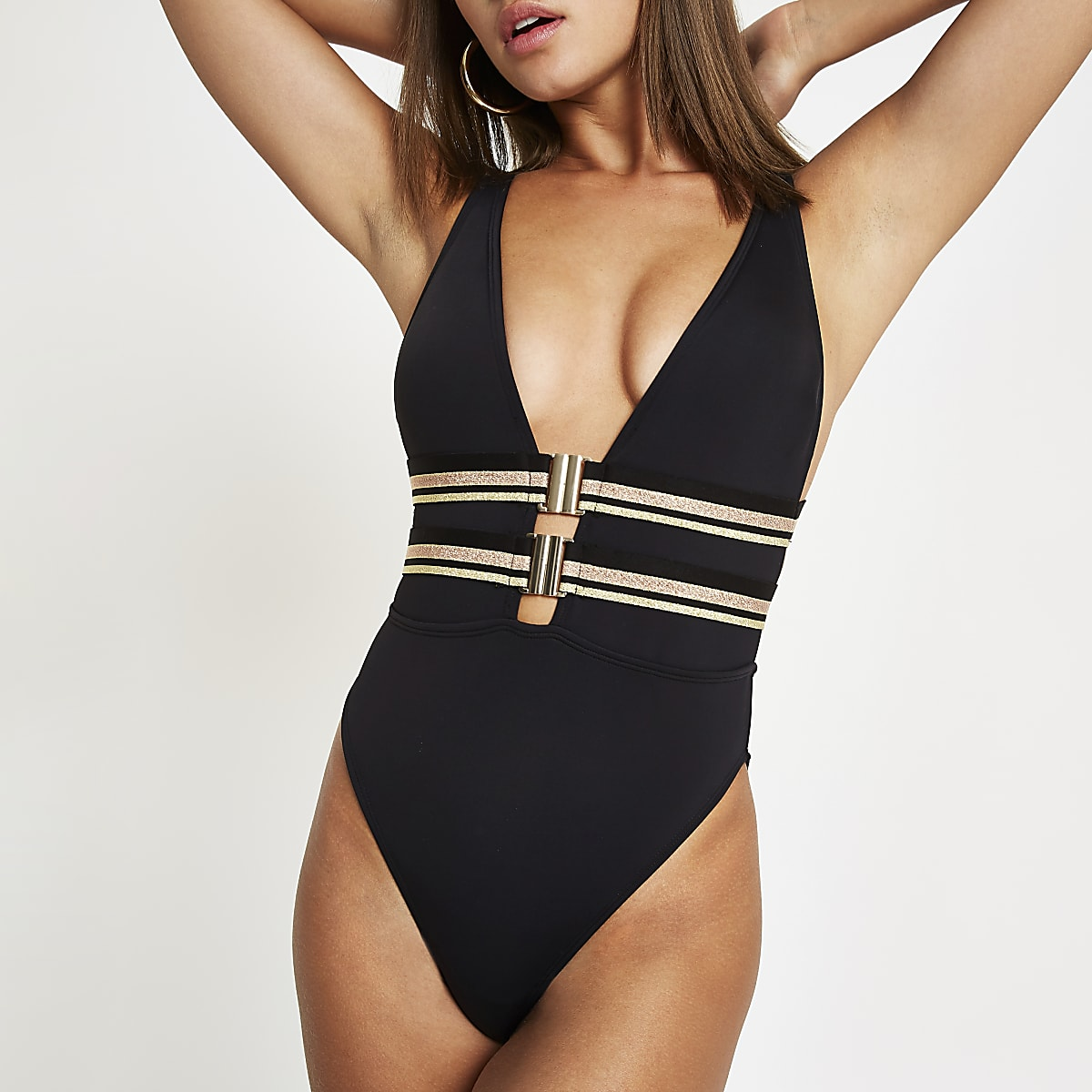 41f7ad4d815a3 Black clip front plunge swimsuit - Swimsuits - Swimwear & Beachwear ...