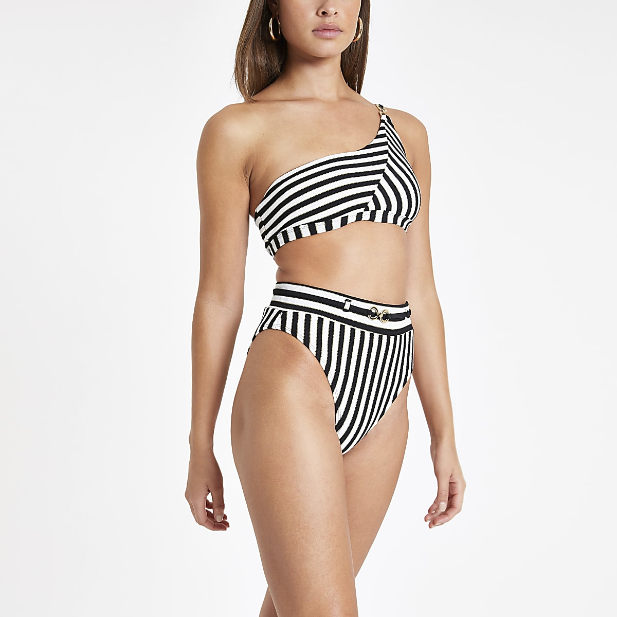 Black stripe high waist bikini bottoms