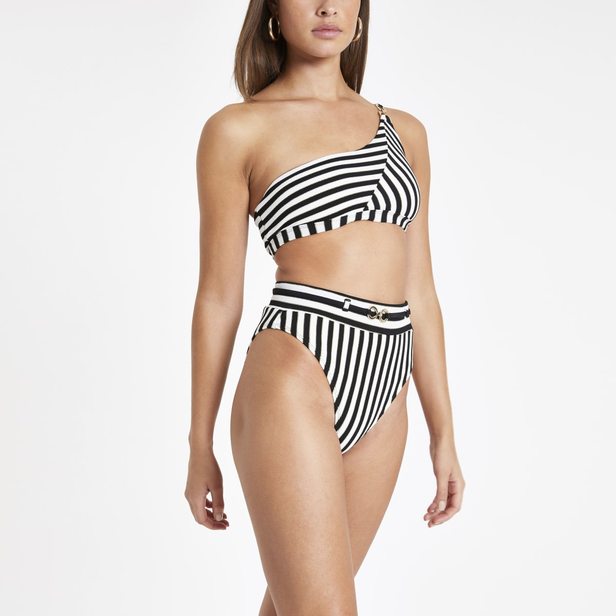 Black stripe high waist bikini bottoms