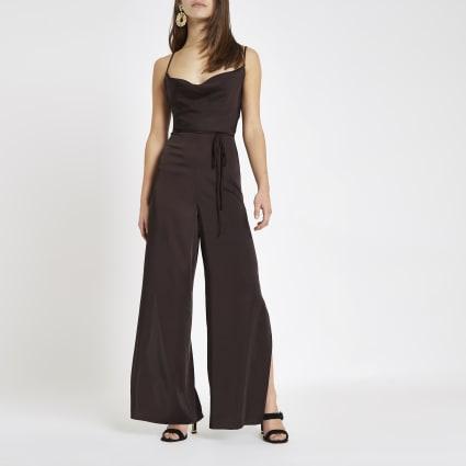 Petite burgundy cowl neck jumpsuit