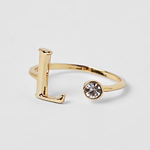 Gold plated 'L' initial ring