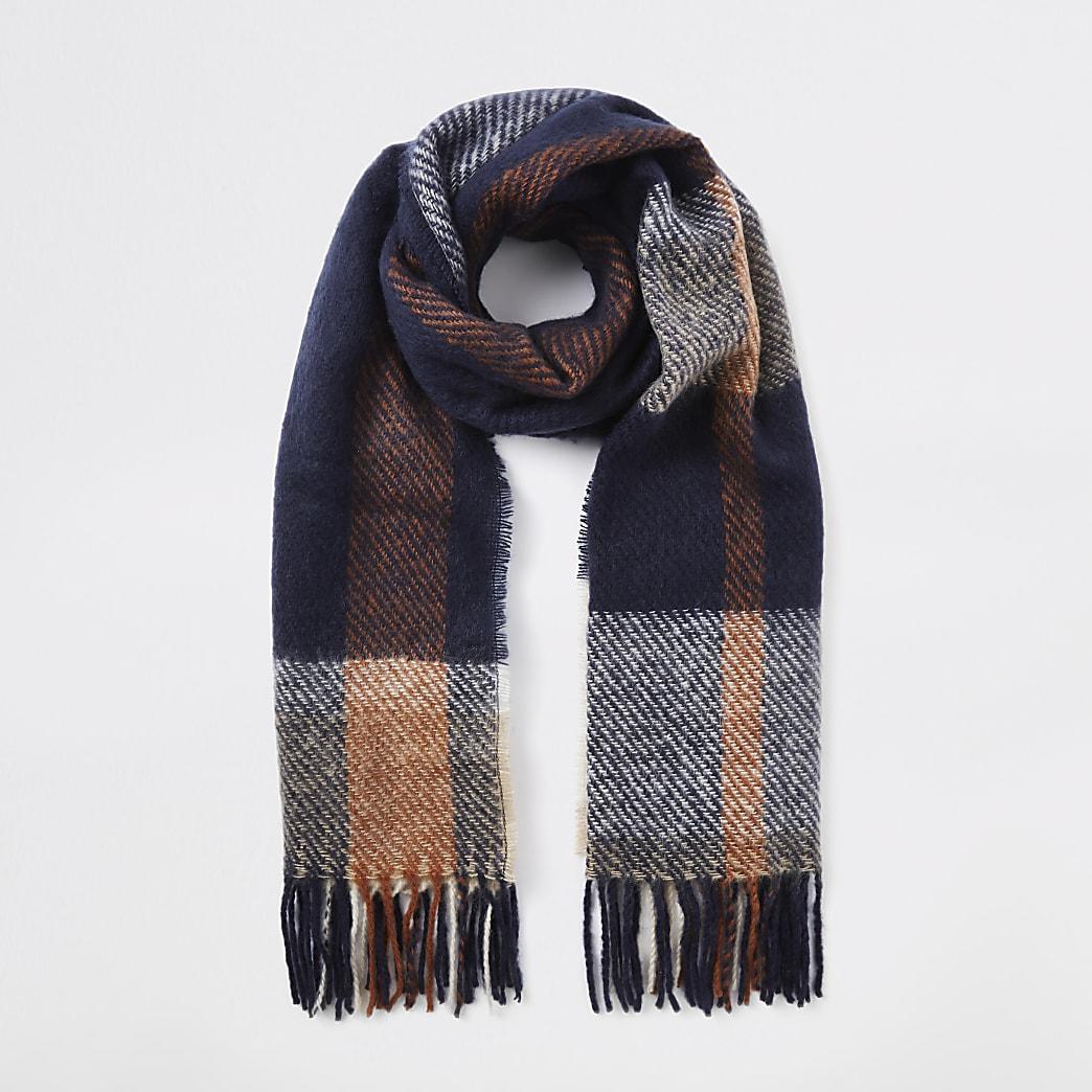 Marineblauwe geruite sjaal