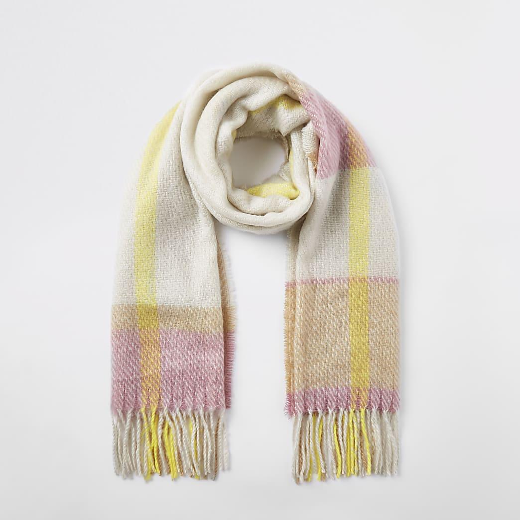 Écharpe à carreaux beige