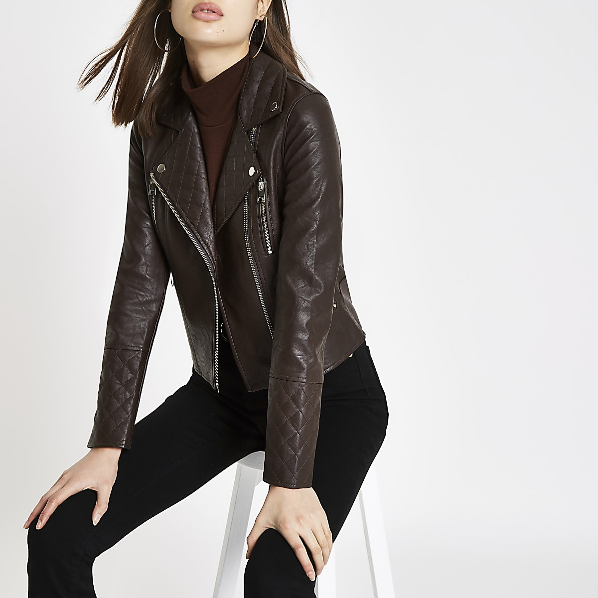 Brown faux leather quilted biker jacket