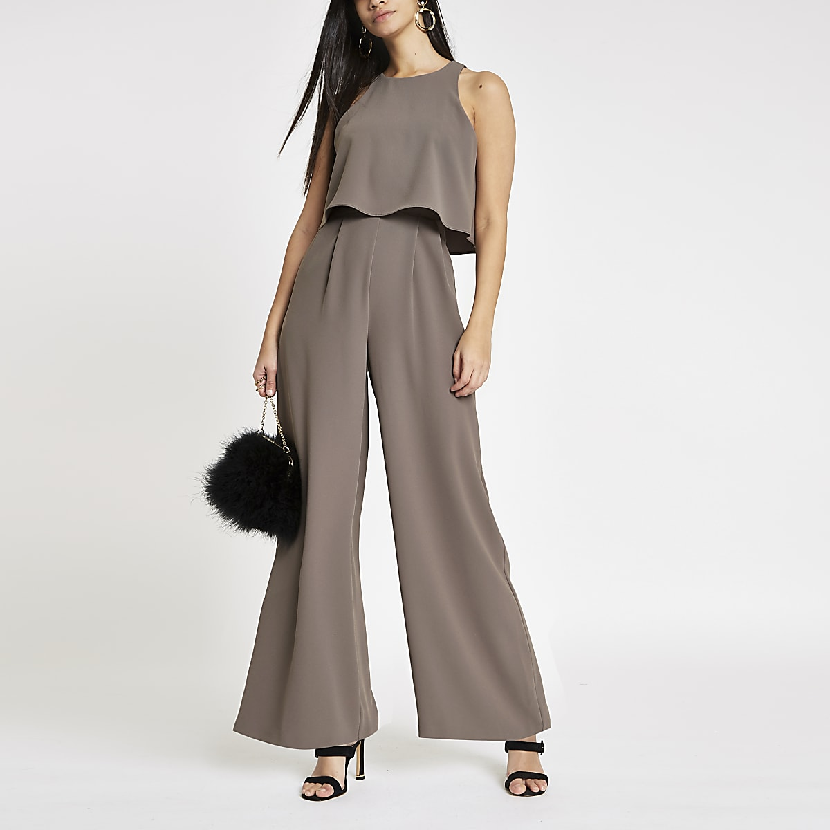 Dark grey wide leg jumpsuit