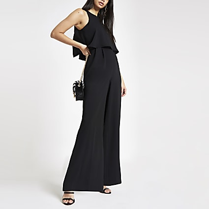Black wide leg jumpsuit