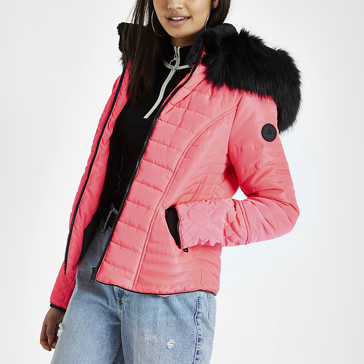 Neon pink faux fur hood padded coat