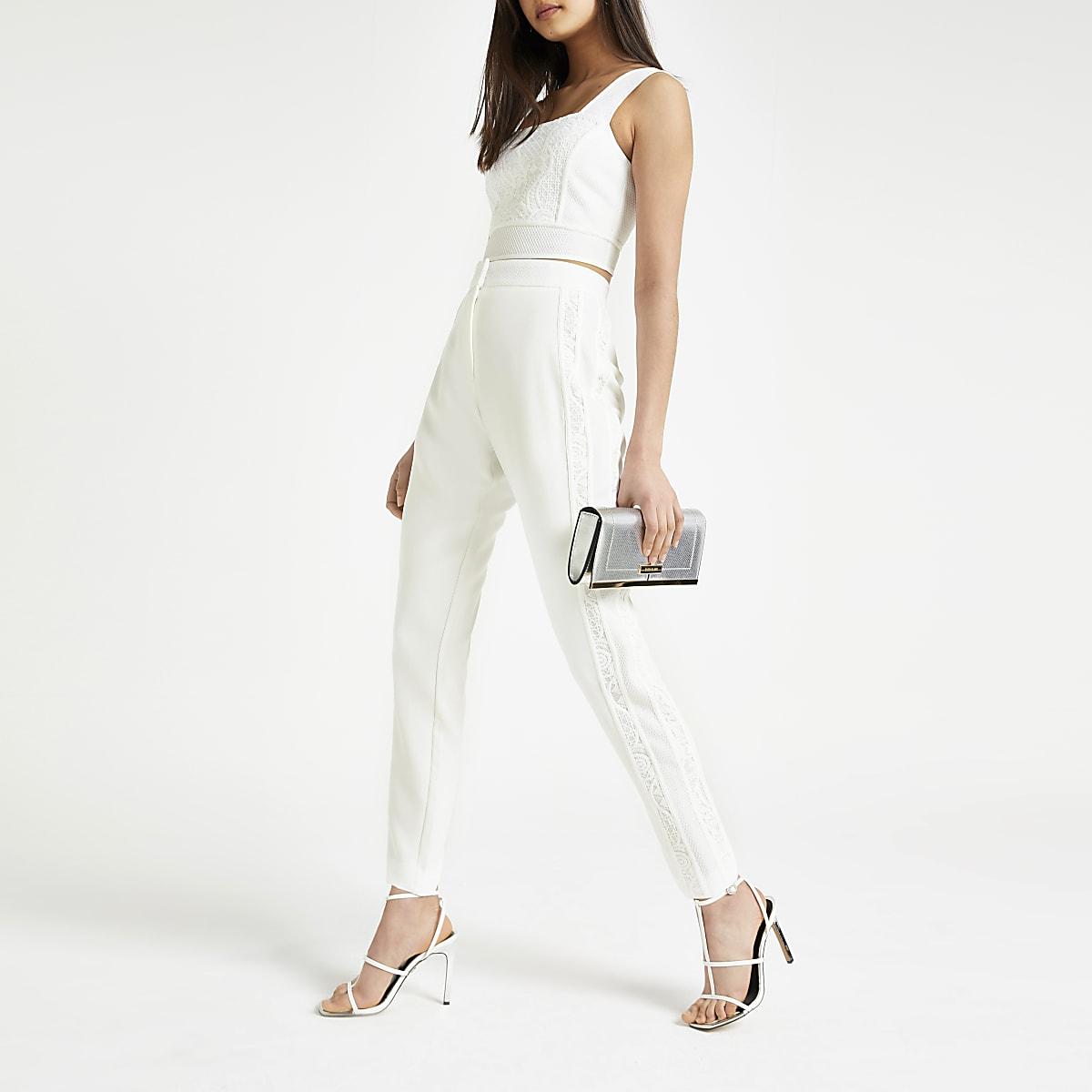 White lace cigarette pants