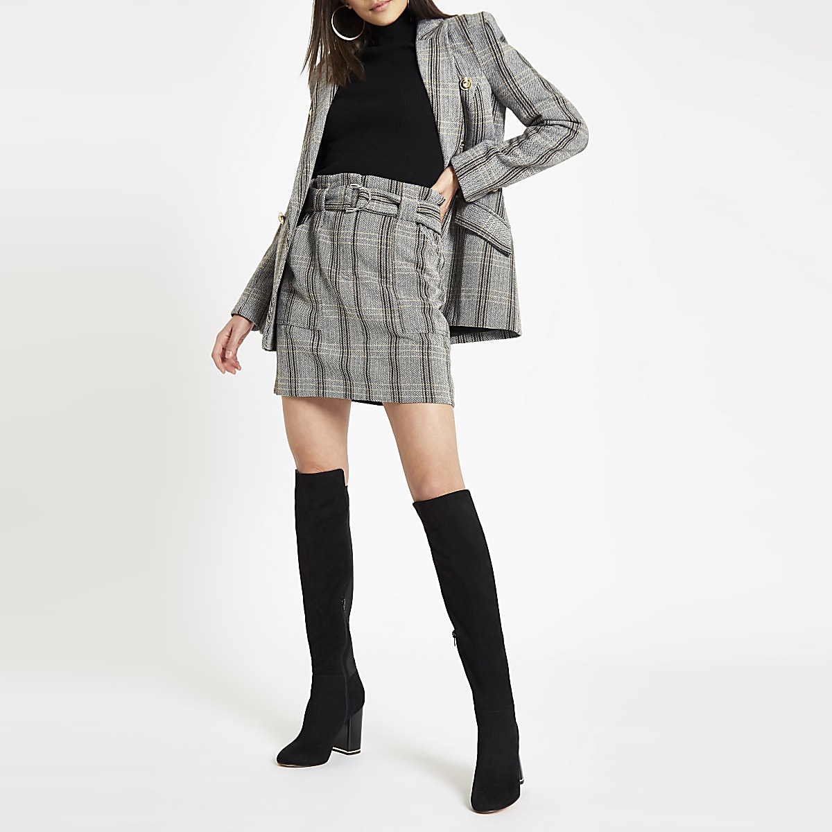 Brown check wool paperbag waist mini skirt