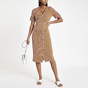 Orange stripe print button front midi dress