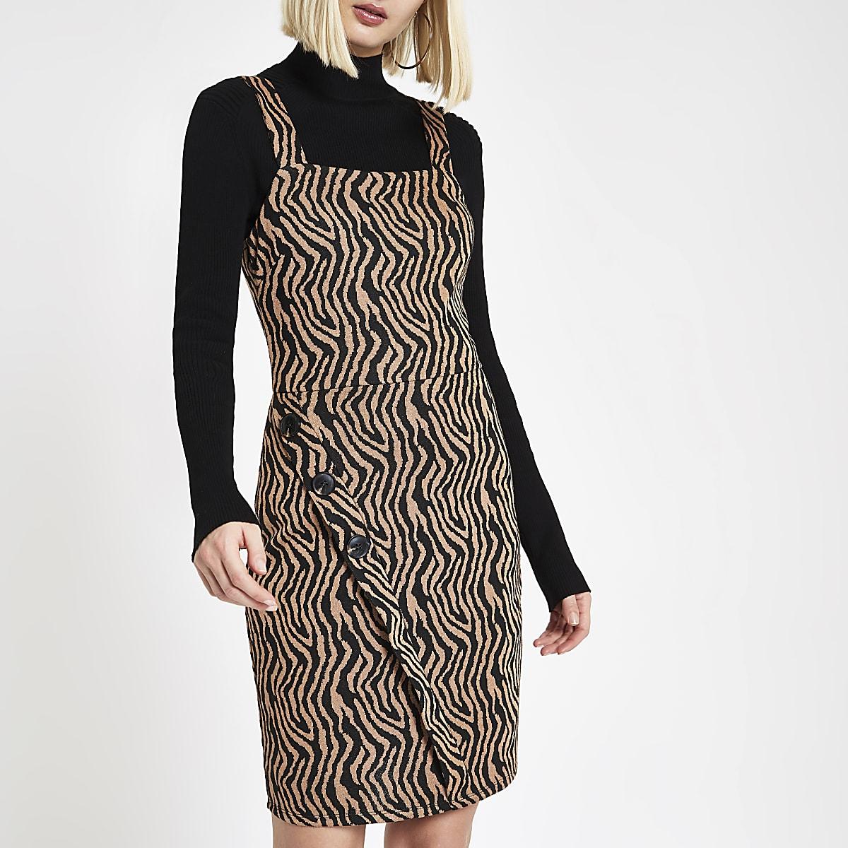 Brown zebra print wrap pinafore mini dress
