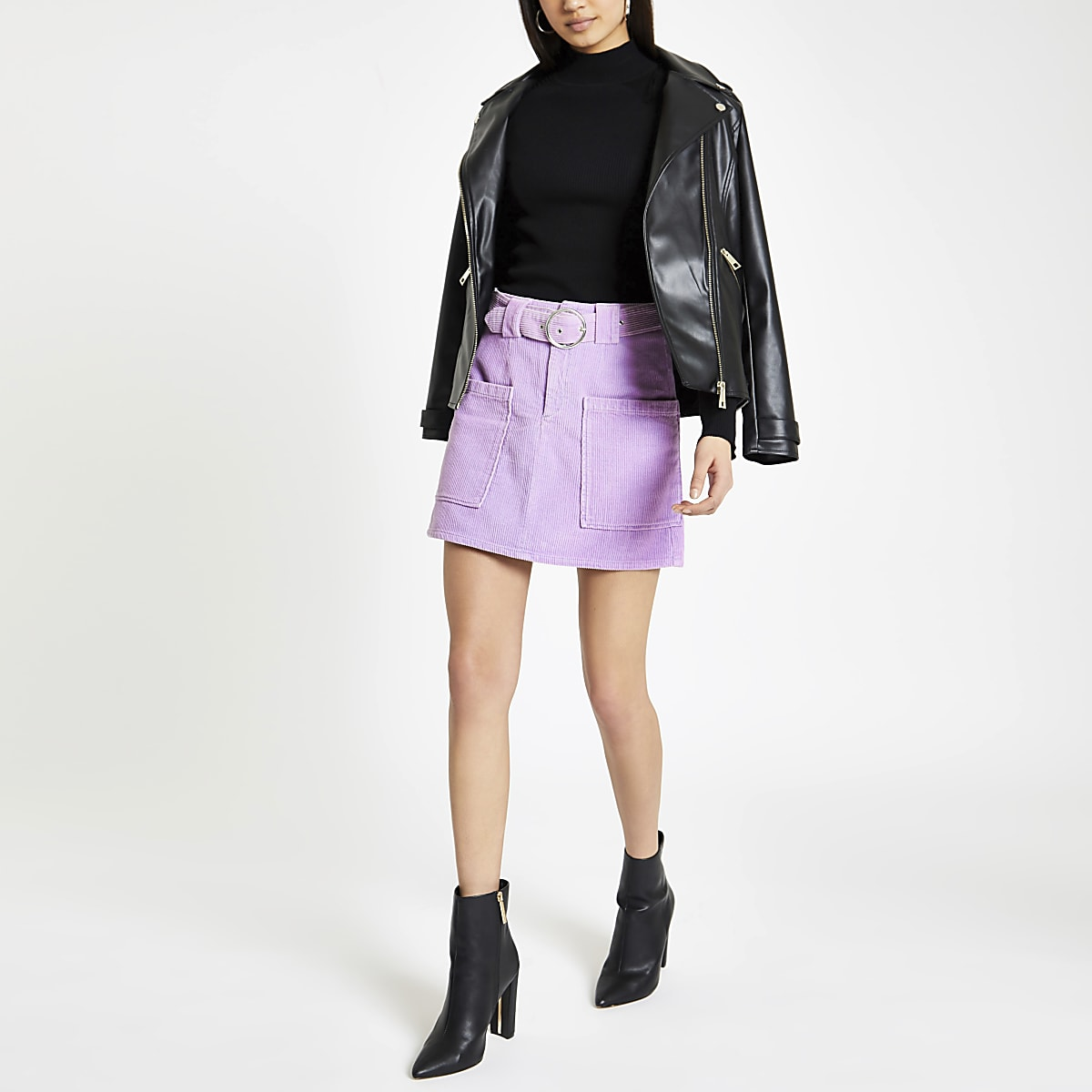 Purple belted cord mini skirt