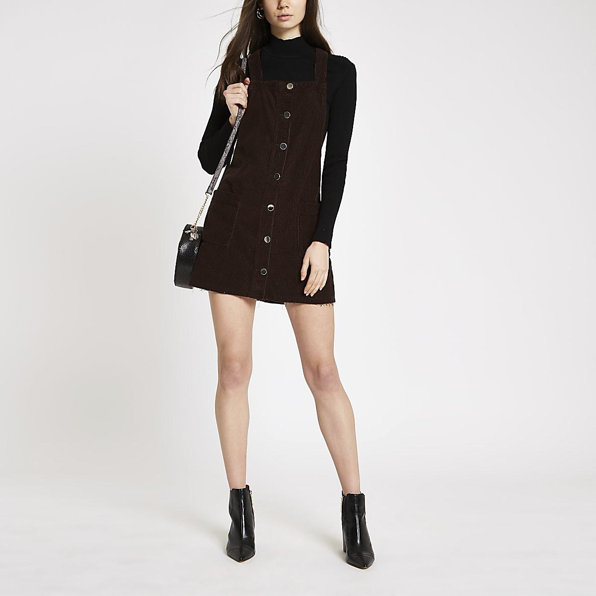 Brown overall denim dress