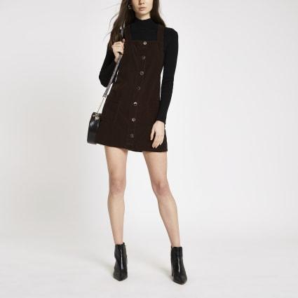 Brown dungaree denim dress