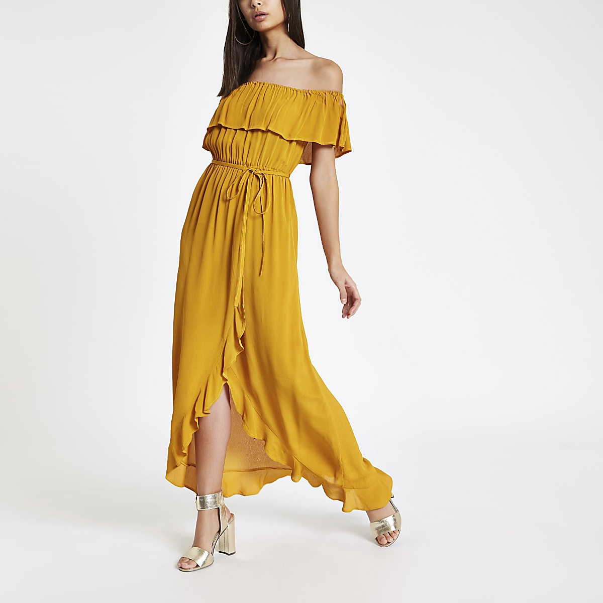 Yellow tie waist frill bardot maxi dress