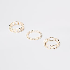 Gold color curb chain ring pack