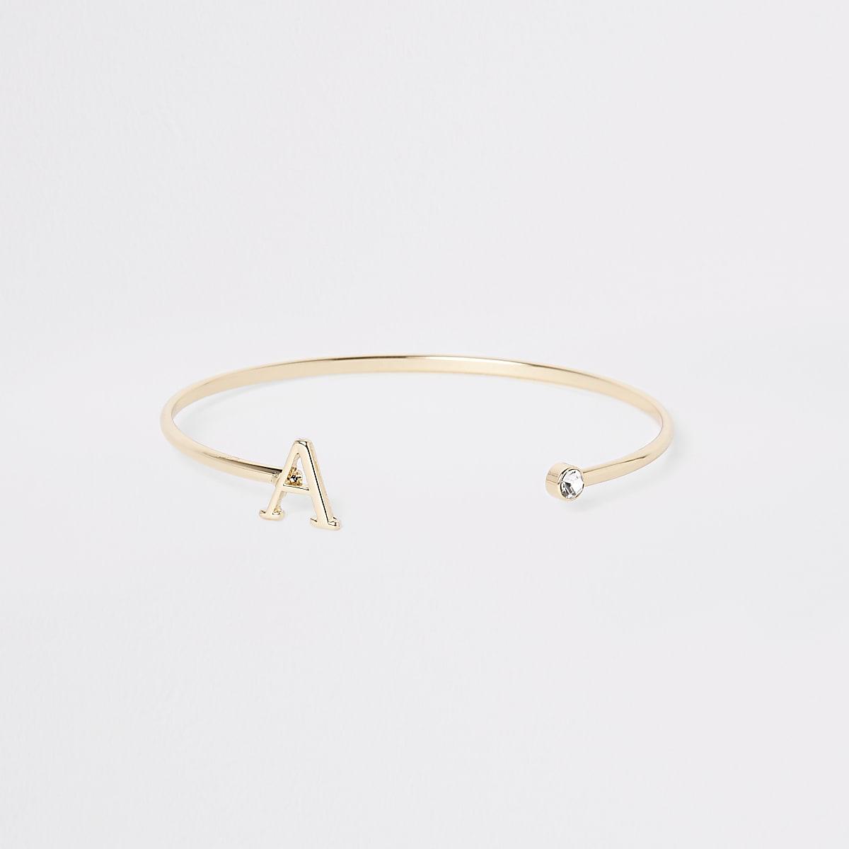 Gold plated 'A' initial cuff bracelet