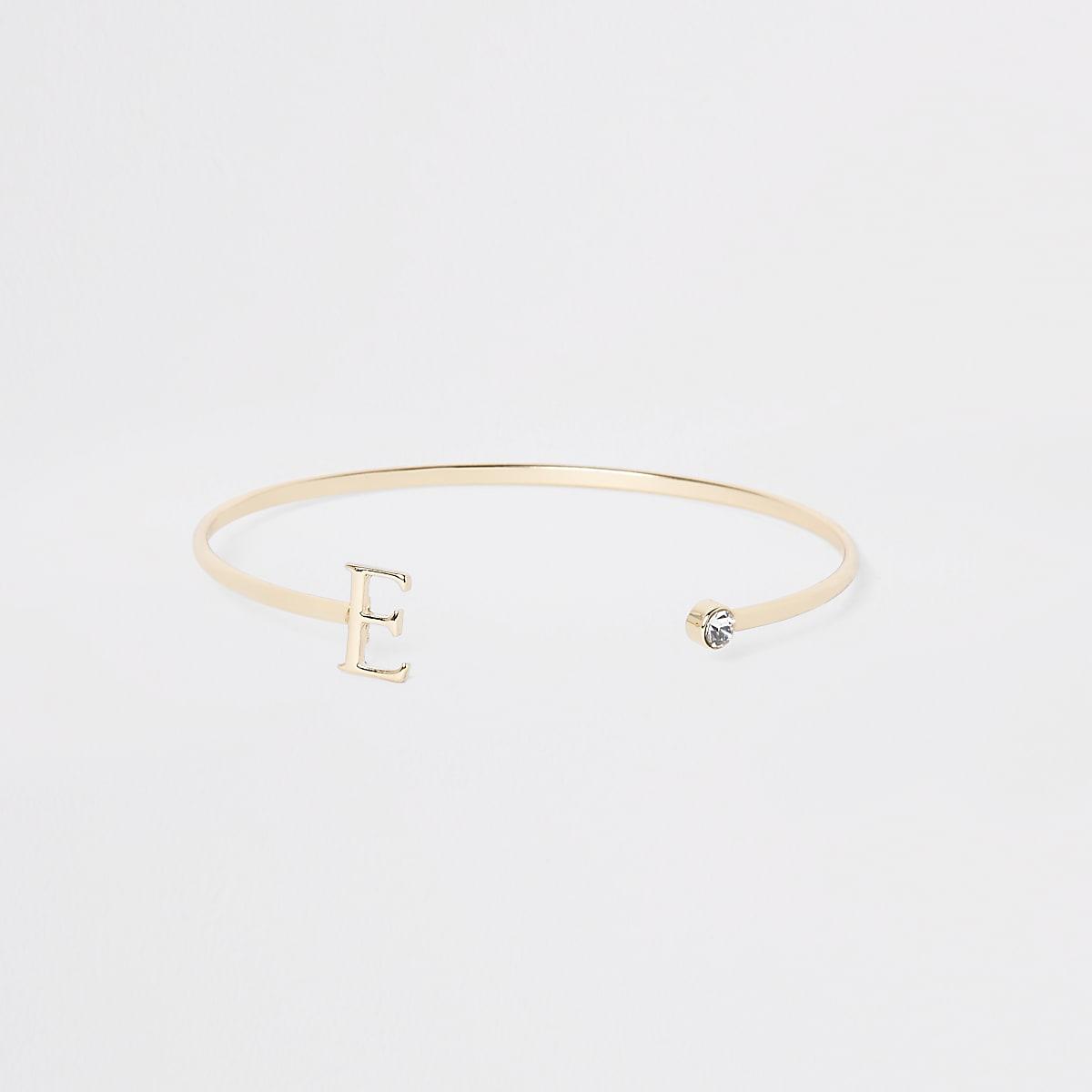 Gold plated 'E' initial cuff bracelet