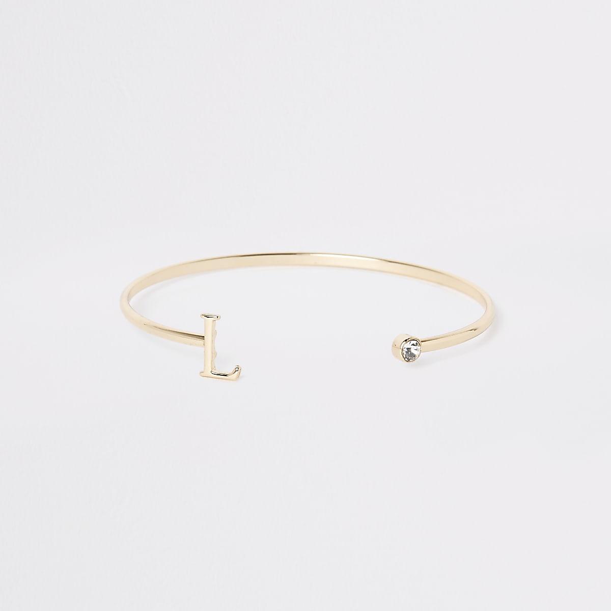 Gold plated 'L' initial cuff bracelet