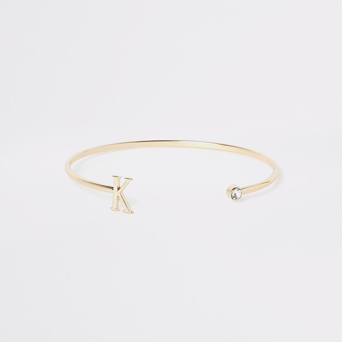 Gold plated 'K' initial cuff bracelet