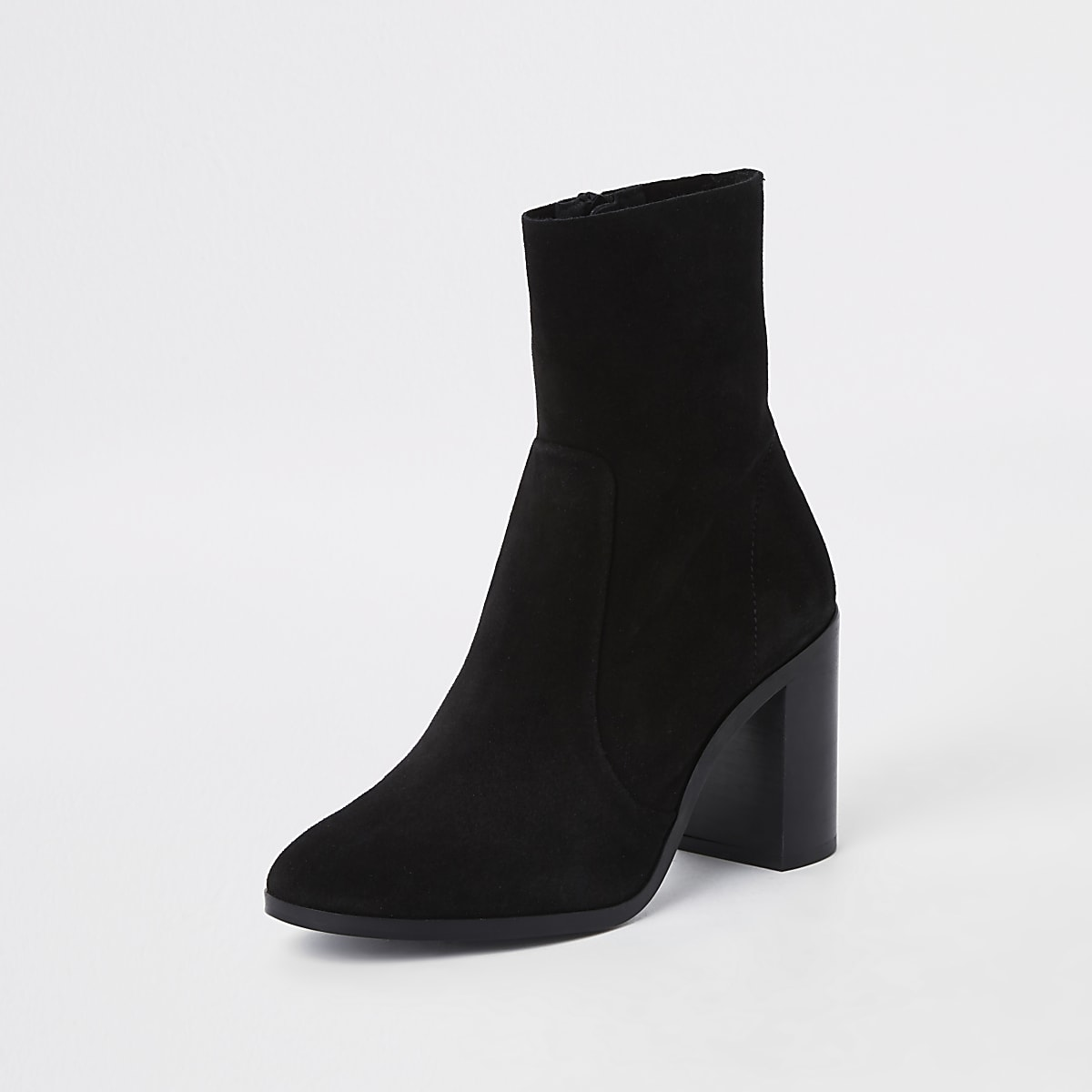 buy popular dd75e c691a Black suede block heel sock boots