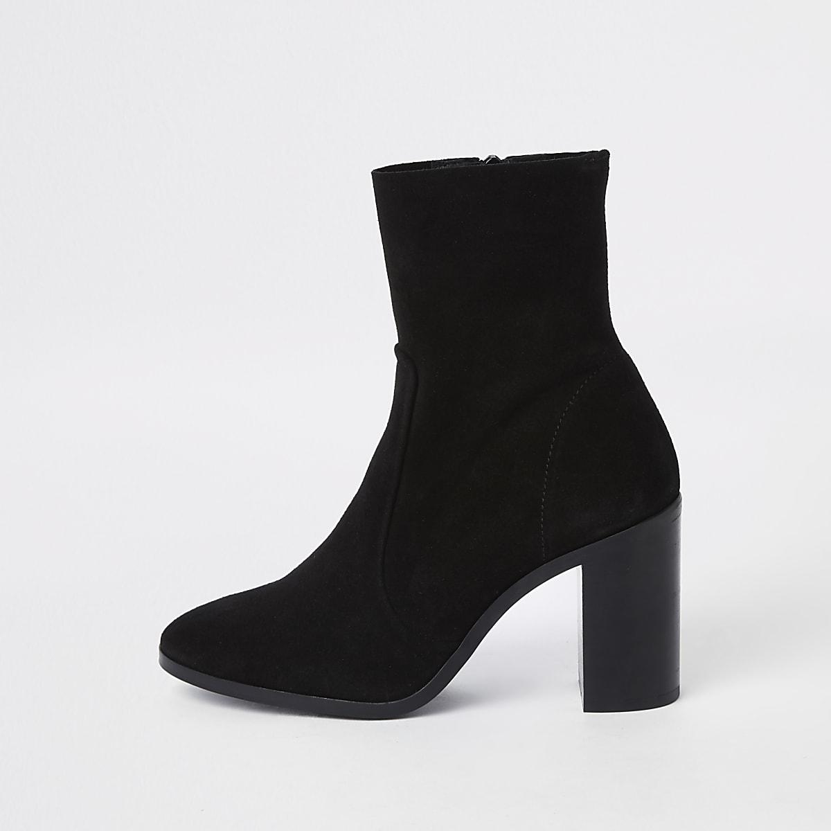 Black suede block heel sock boots