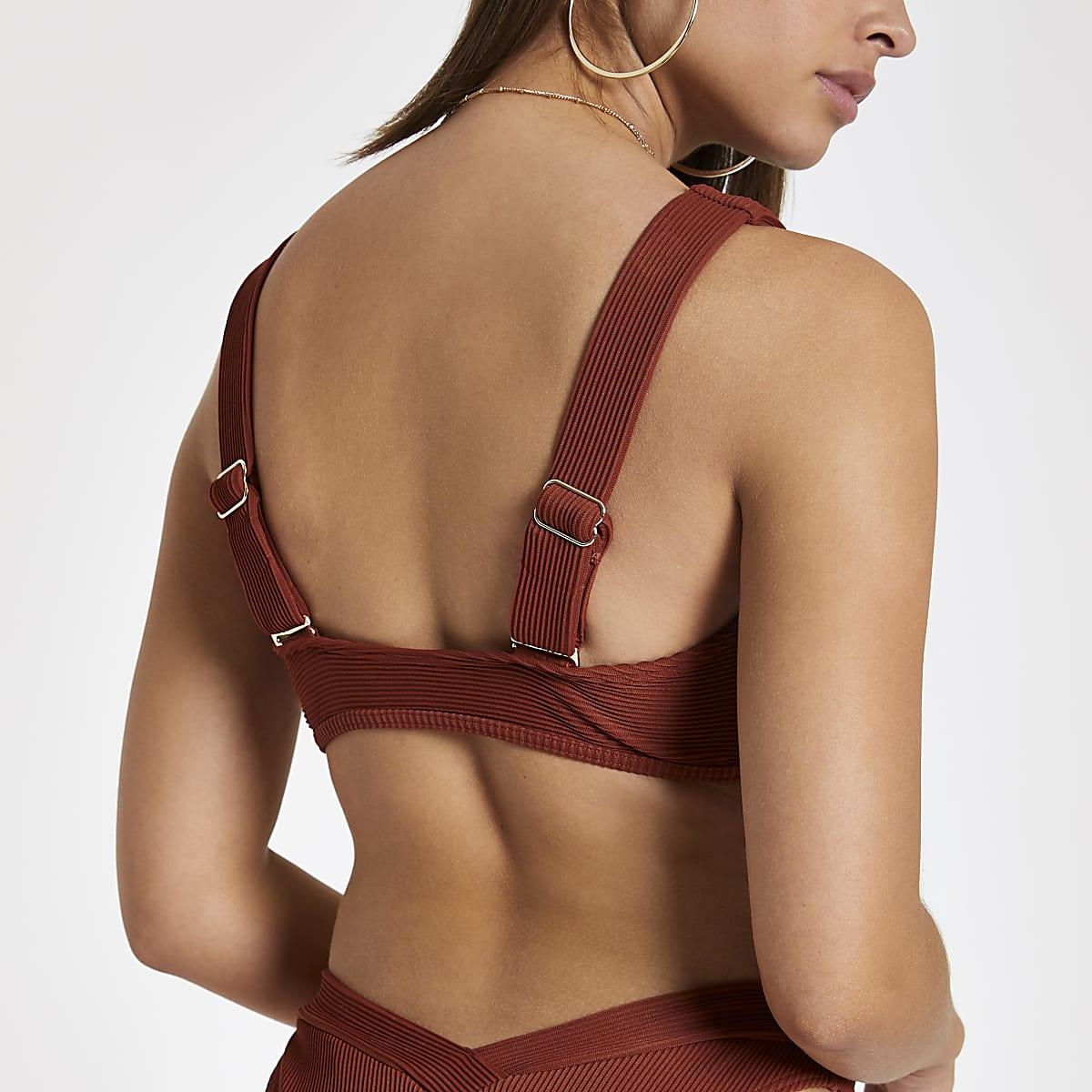 3bb232bdc141f Brown ribbed tie front bardot bikini top - Bikini Tops - Bikinis ...