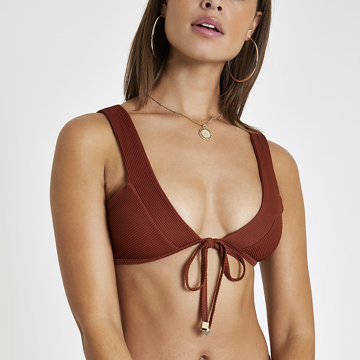 Brown ribbed tie front bardot bikini top