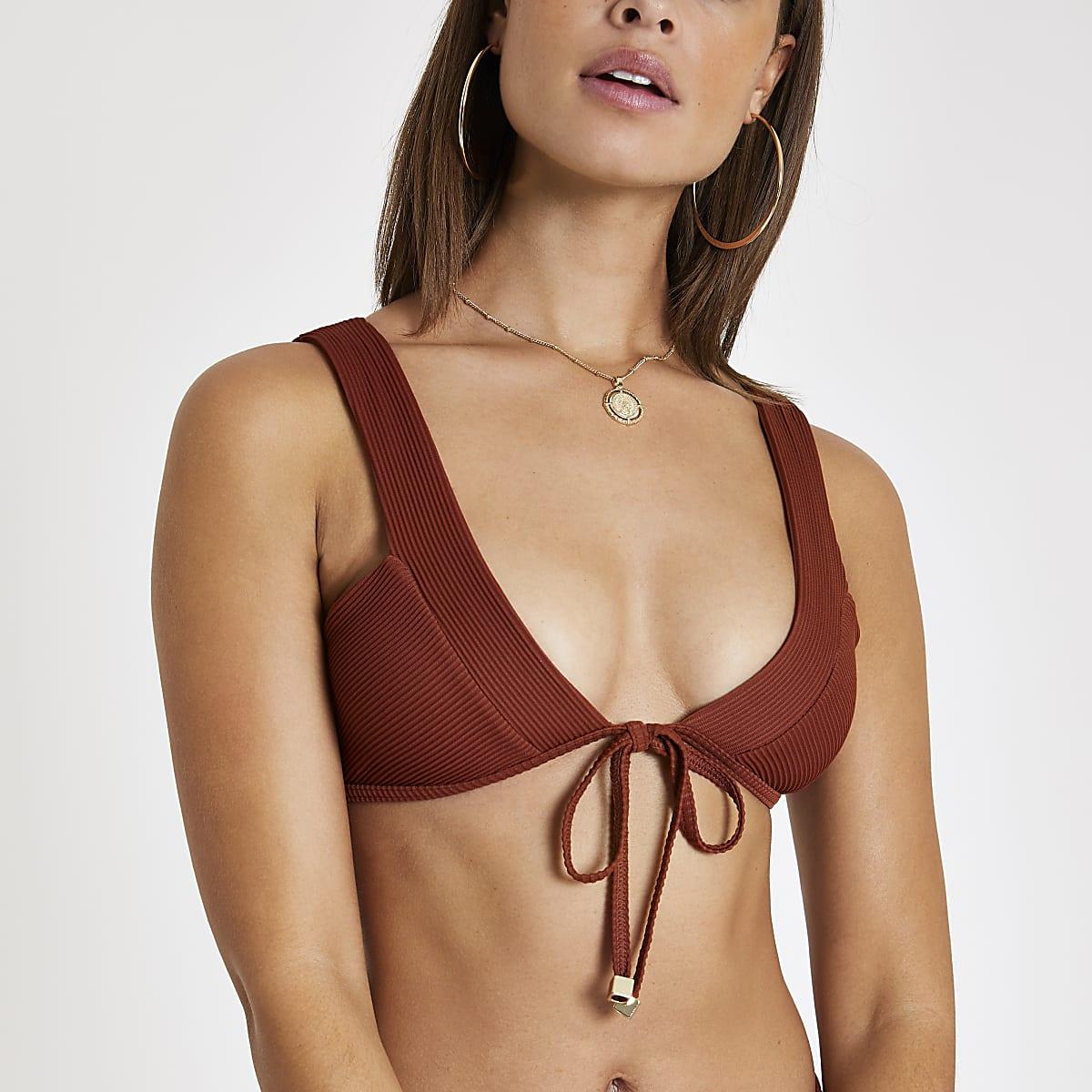 Brown ribbed tie front bardot bikini top