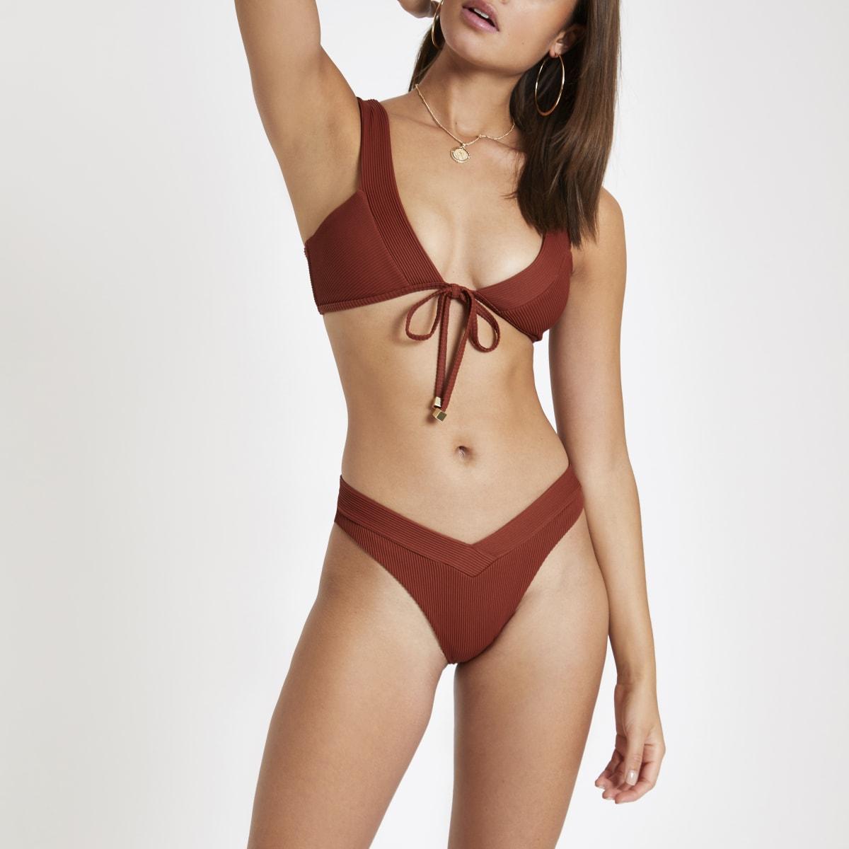 Brown ribbed high leg bikini bottoms