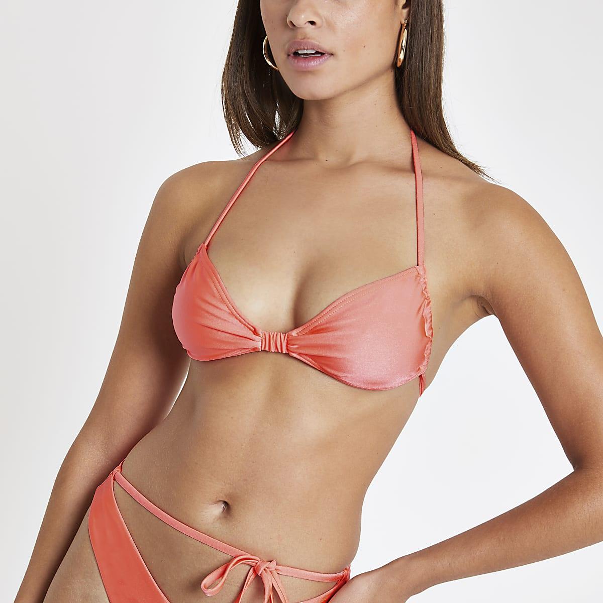 Orange tie back bikini top