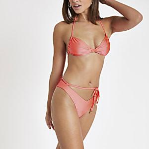 Orange tie waist high leg bikini bottoms