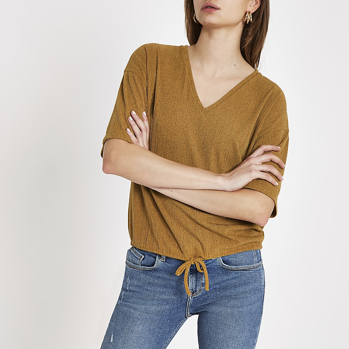 Yellow elastic tie waist loose fit top