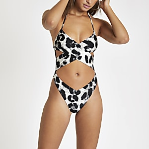 Black animal print cross over swimsuit