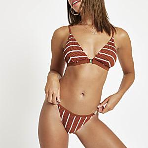 Braune, gestreifte Bikinihose mit hohem Beinschnitt