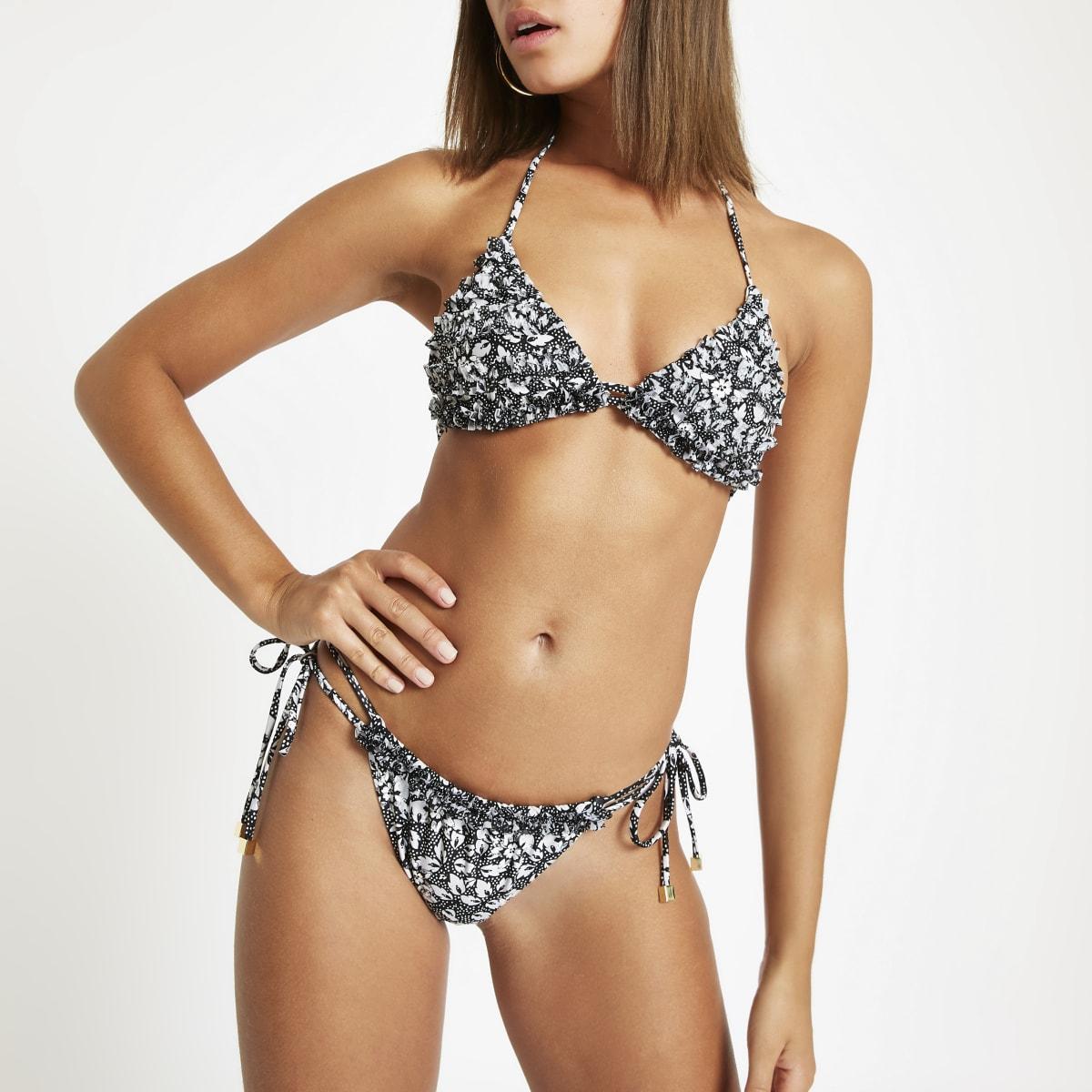 Black floral mesh frill bikini bottoms