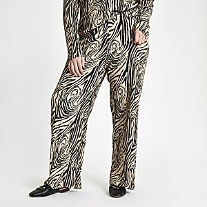 RI Plus - Beige plissé broek met wijde pijpen en zebraprint