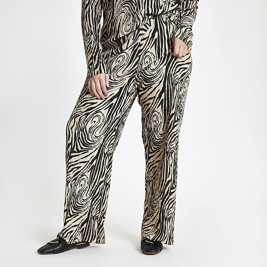 Plus – Pantalon large à imprimé zèbre beige plissé