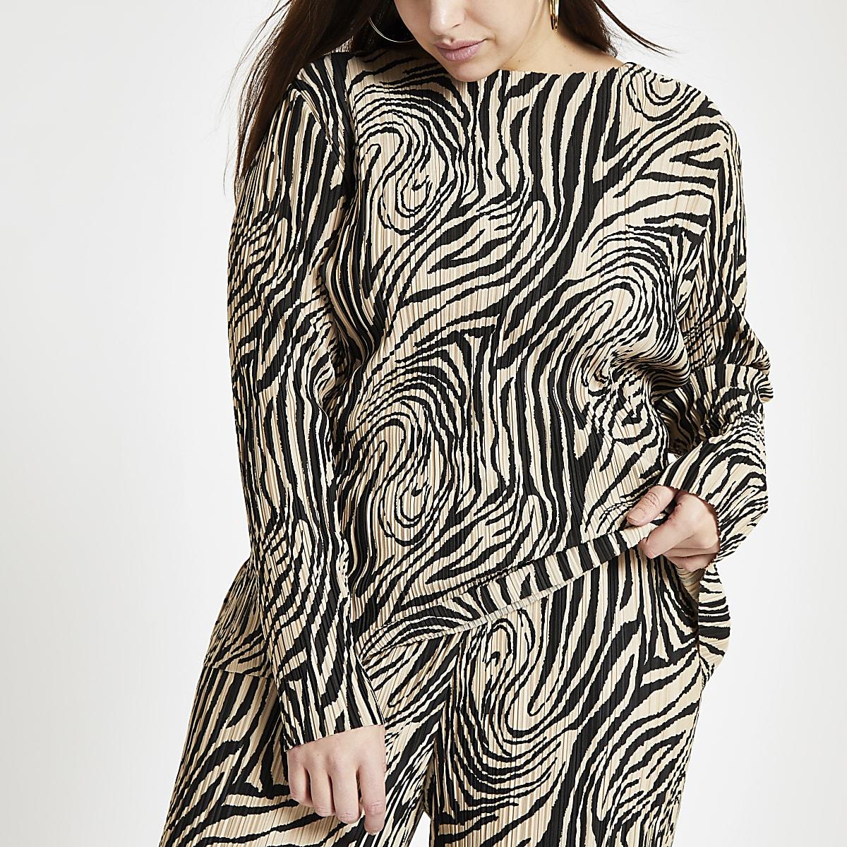 Plus beige zebra print plisse high neck top
