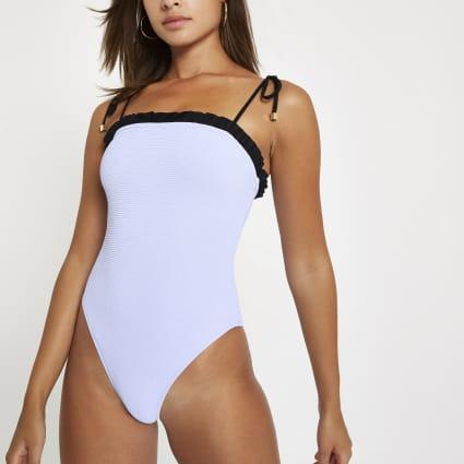 Blue frill trim bandeau swimsuit