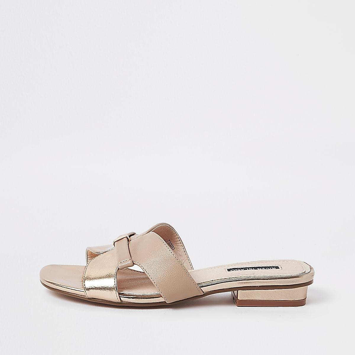 bb89ce2d35f Rose gold faux leather flat mule sandals - Sandals - Shoes   Boots - women