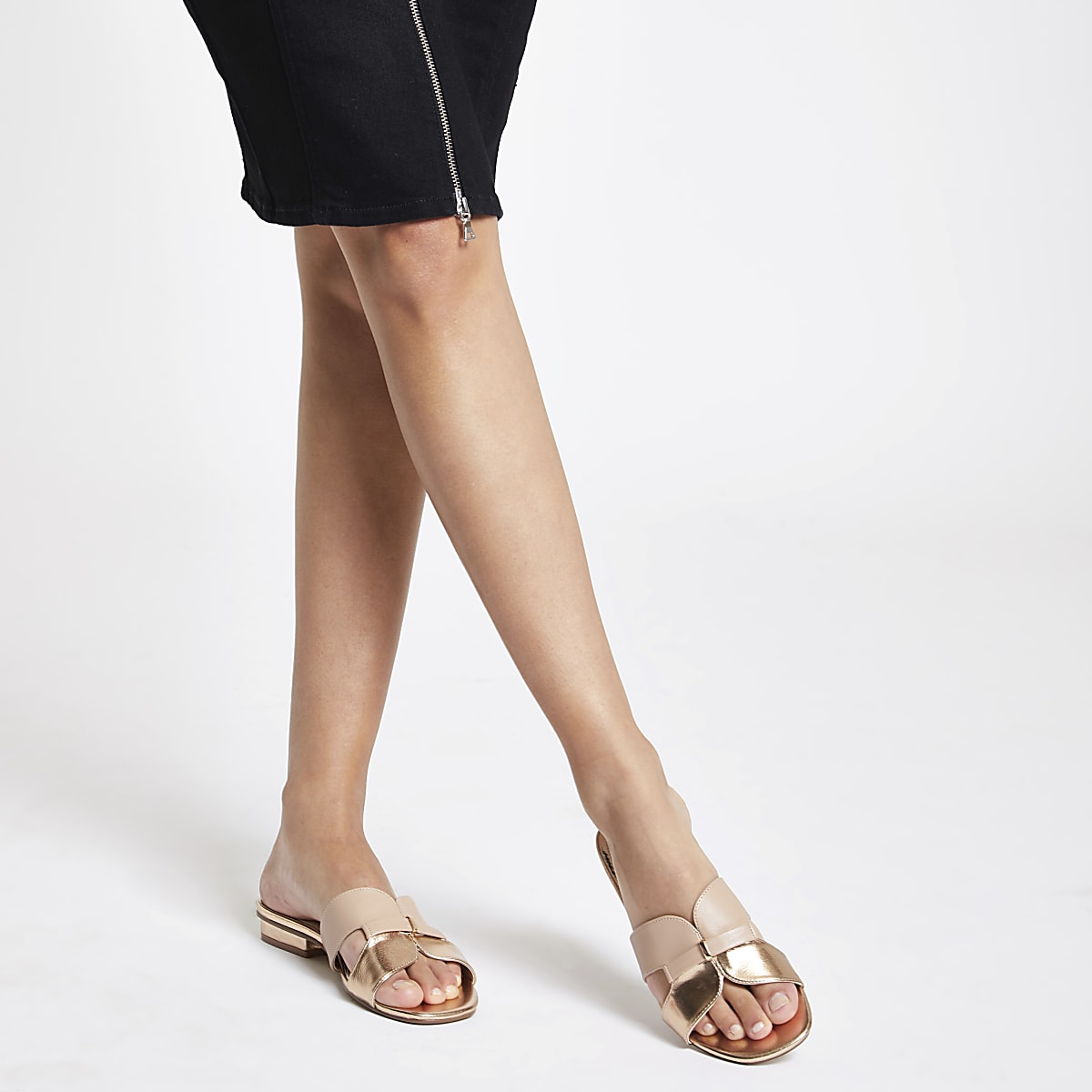 f26c90405ed Rose gold faux leather flat mule sandals - Sandals - Shoes   Boots ...