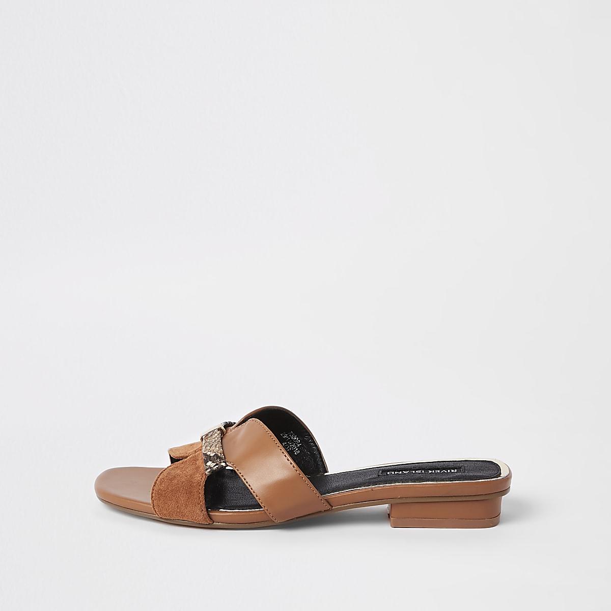 Brown faux leather flat mule sandal