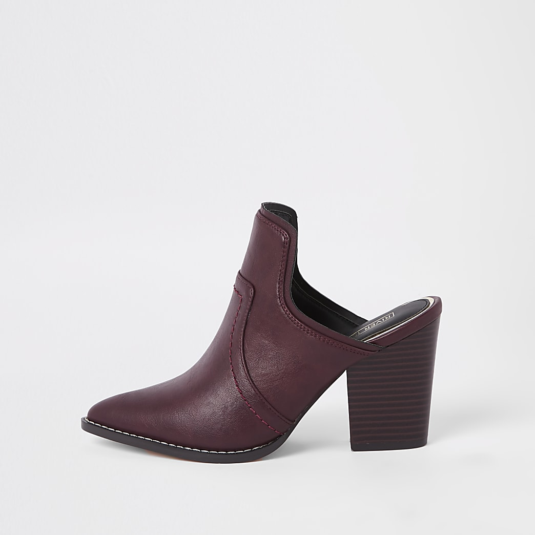 Dark red western pointed toe mule